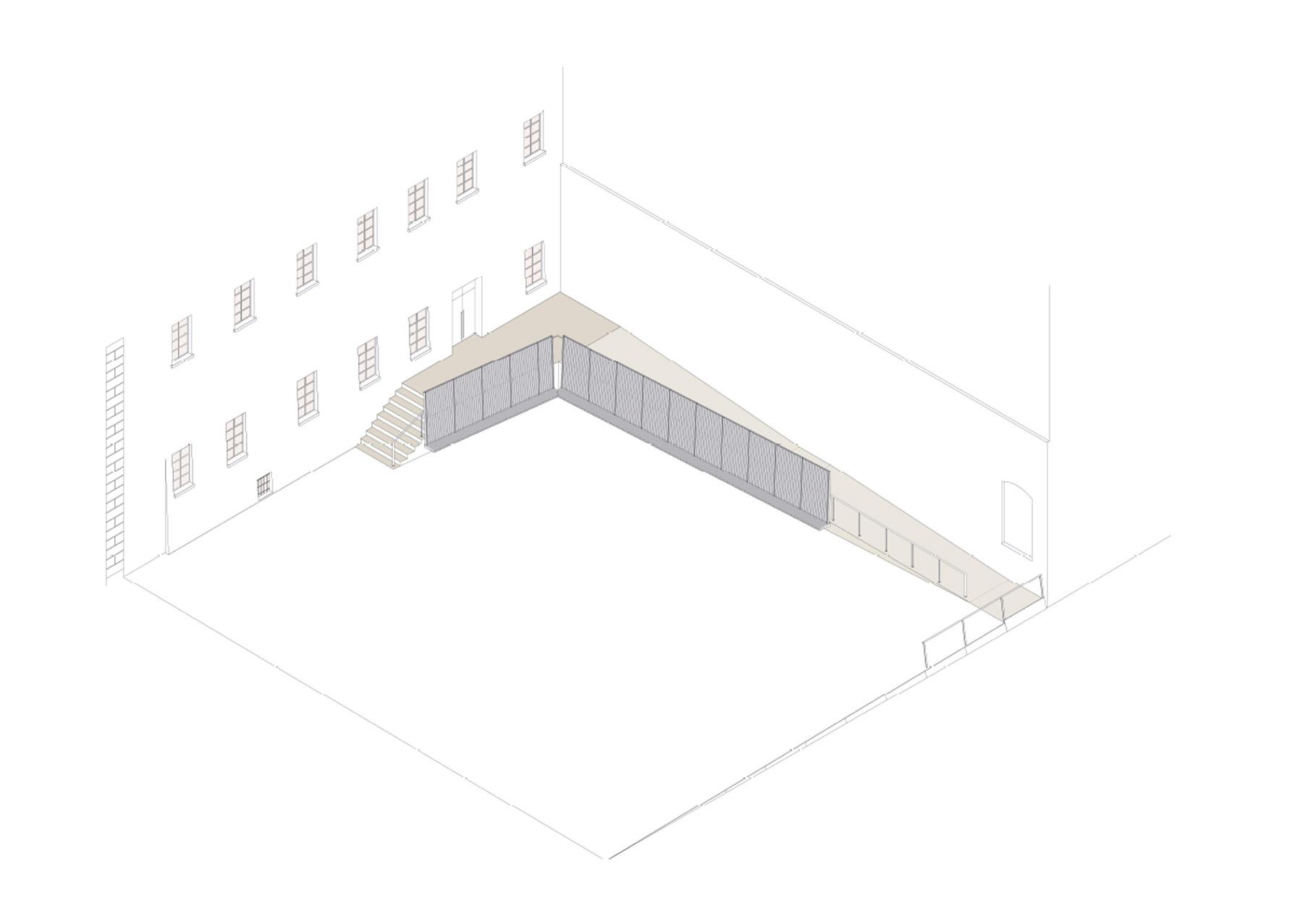 assonometria chiostro ingresso San Pietro a Reggio Emilia