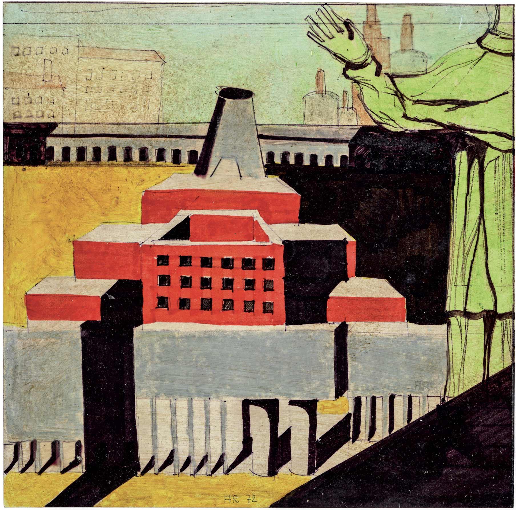 Disegno di Aldo Rossi, Architettura con santo