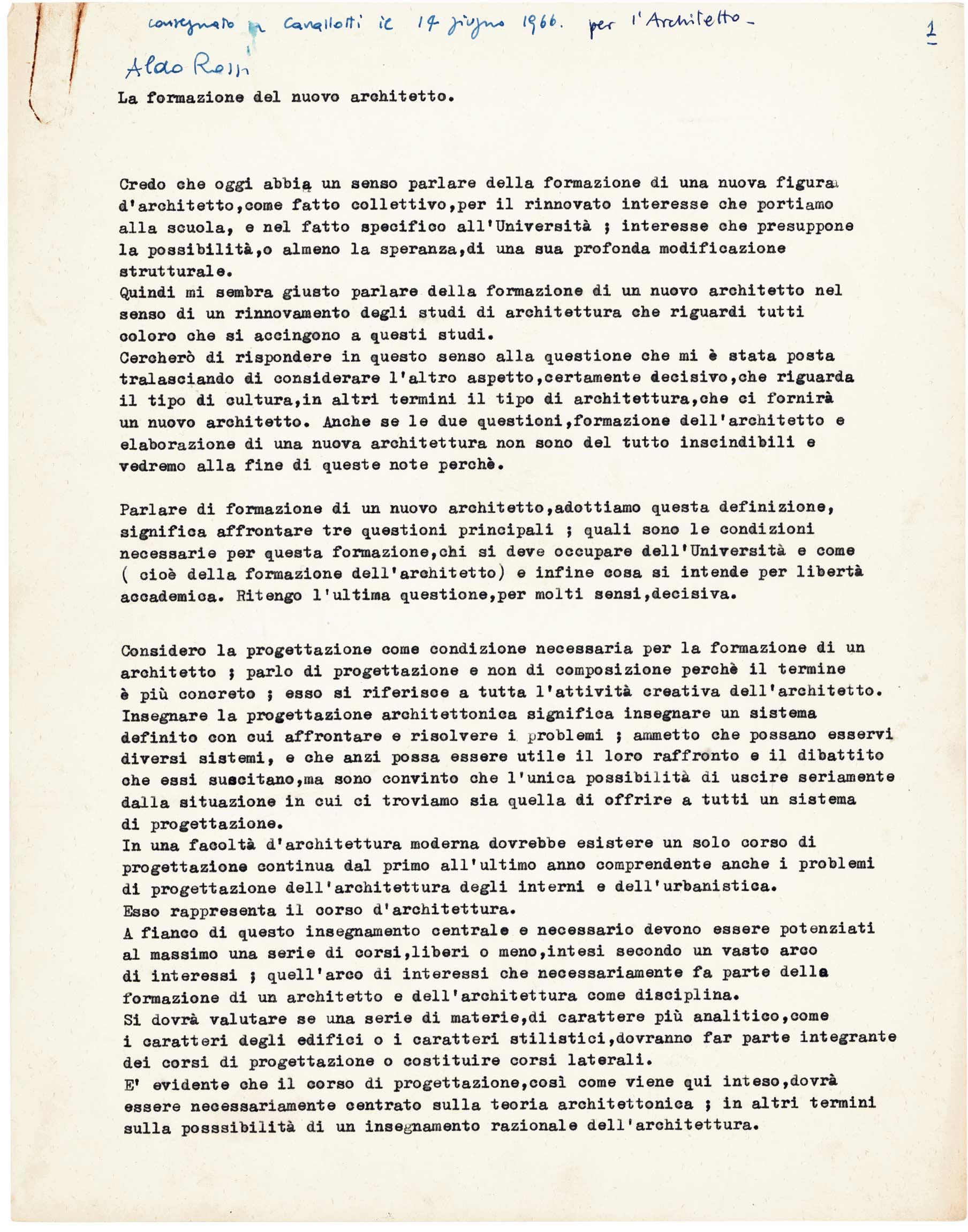 Il dattiloscritto testo Aldo Rossi