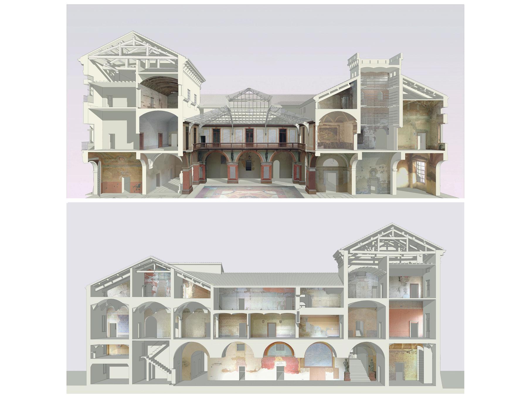 Sezioni prospettiche palazzo ducale Guastalla