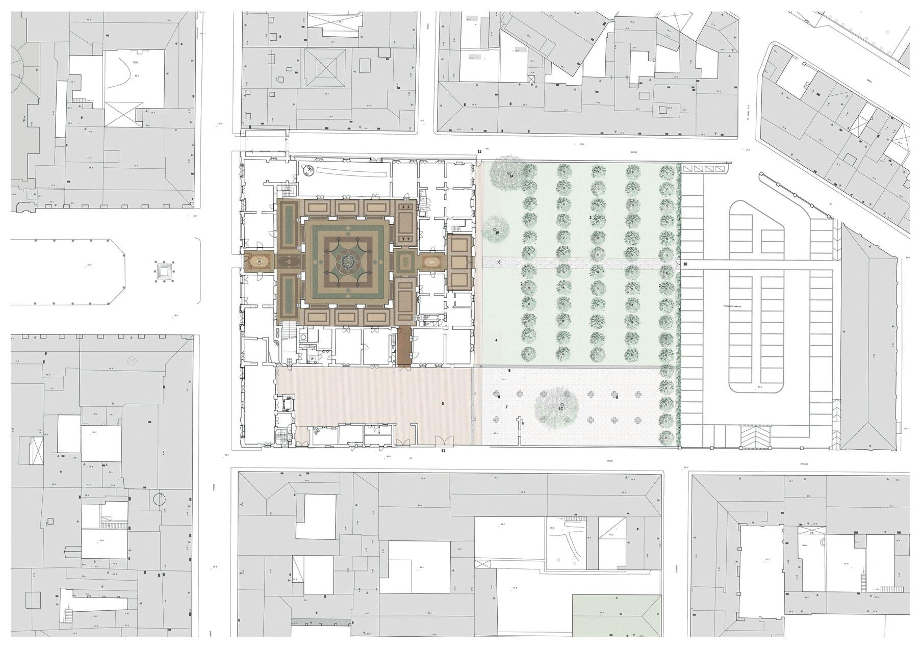 Planimetria localizzazione palazzo ducale Guastalla