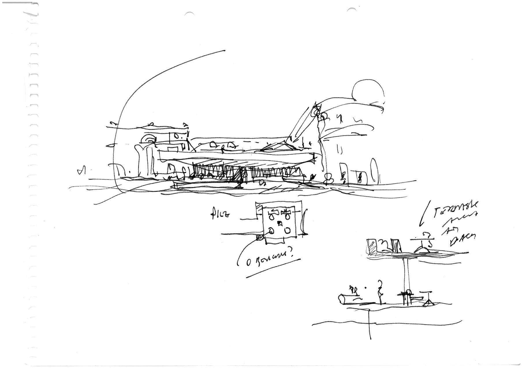 Schizzo di studio del progetto ristrutturazione Kurhaus a Merano